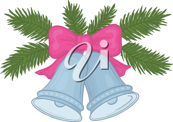 Christmas decoration, silver bells with pink bow and green fir branches. Vector