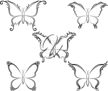 Set Butterflies Monochrome Black Pictograms Isolated on White Background. Vector