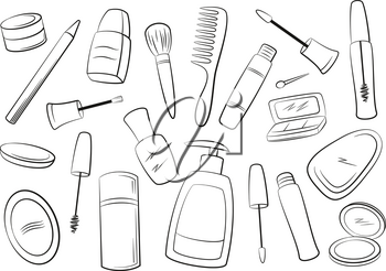 Set of Cosmetic Accessories, Soap, Comb, Brushes, Mascara, Eyeshadow and Others Black Contours Isolated on White Background. Vector