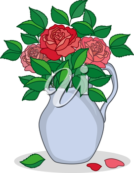 Jug of blue porcelain with three red and pink roses. Vector