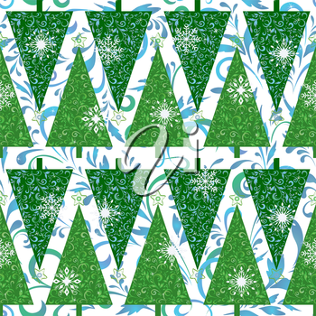 Seamless background for holiday design, green Christmas trees with stars and blue and white floral pattern and snowflakes. Vector