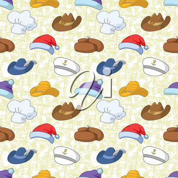 Seamless pattern of different heads designs on abstract background, Santa Claus, sheriff, musketeer, captain, cook and others. Vector