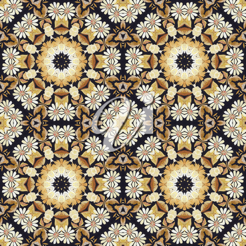Abstract seamless artistic pattern, floral ornament, handmade applique from painted straw and bark on a black fabric background