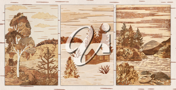 Set Russian Siberian natural landscapes. Handmade, application from slices of an underside of a birch bark