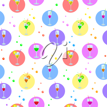 Seamless Background, Glasses with Various Colored Drinks, Circle and Bubbles. Vector
