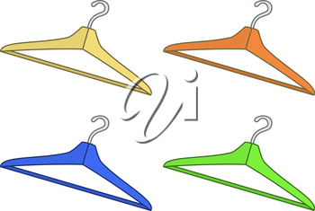 Set multi-coloured hangers for clothes, isolated on white background. Vector