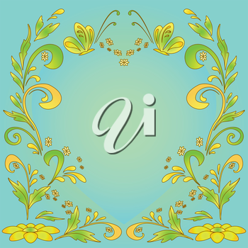 Abstract green and yellow vector background with flowers and butterflies