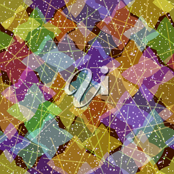 Seamless Background, Abstract Tile Pattern, Colorful Geometrical Figures and Lines. Eps10, Contains Transparencies. Vector