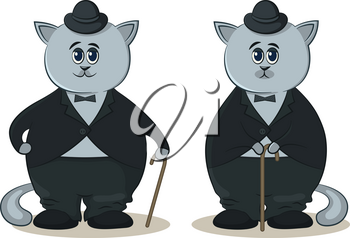 Cat in a Bowler Hat and with a Cane, a Symbol of the Old Movie Artist Charlie Chaplin. Vector