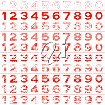 Numbers signs set, from 1 to 9, different patterns, isolated on white. Vector