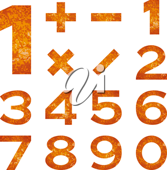 Set of numbers and mathematical signs stylized flaming orange lava, elements for web design. Eps10, contains transparencies. Vector