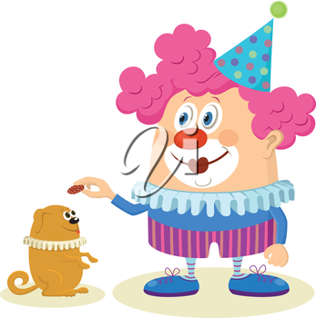 Cheerful kind circus clown in colorful clothes with trained dog, holiday illustration, funny cartoon character isolated on white background. Vector