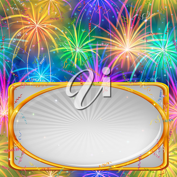 Holiday Background with Various Colorful Fireworks, Confetti, Streamers and Banner with Golden Frame. Eps10, Contains Transparencies. Vector