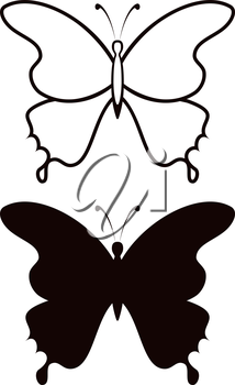 Butterfly, black silhouettes with opened wings, isolated on white background. Vector