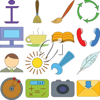 Set various icons, computer signs and buttons. Vector