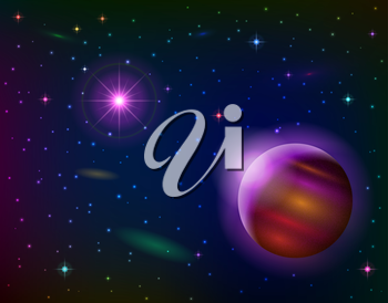 Fantastic space background with unexplored planet, lilac sun, stars and nebulas. Vector eps10, contains transparencies