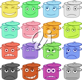 Set of the pans smilies symbolising various human emotions. Vector