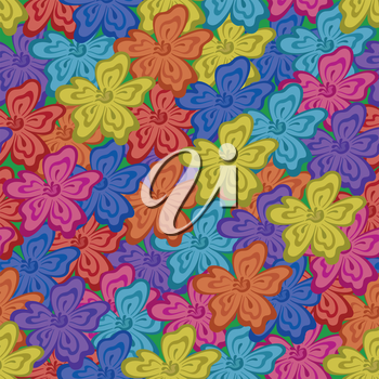 Abstract floral seamless background with symbolical flowers, Vector