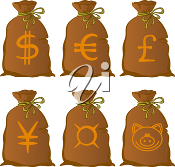 Money, Bags with Currency Signs, Dollar, Euro, Pound, Yen, Universal. And Humorous, with a Pig Snout. Vector