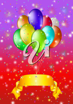 Holiday background, balloons in bunch with a gold banner. Vector eps10, contains transparencies