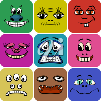 Set of Smileys, Monsters, Funny Cartoon Characters, Different Faces in Colorful Squares, Elements for Your Design, Prints and Banners, Isolated on White Background. Vector.