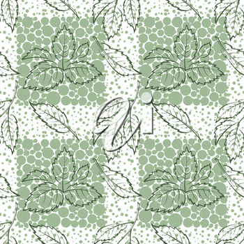 Seamless Background with Pictogram Leaves of Elm Tree, Tile Nature Pattern. Vector