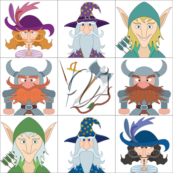 Avatar faces of fantasy brave heroes: elf, dwarf, wizard and noble cavalier, funny comic cartoon user icons and weapons of heroes, set. Vector