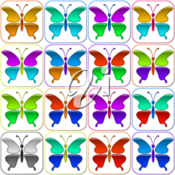 Set of Glossy Icons Butterflies with Colorful Wings, Isolated on White Background. Eps10, Contains Transparencies. Vector