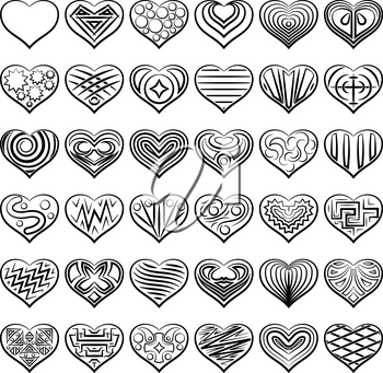 Set of Valentine Hearts with Abstract Patterns, Holiday Symbols of Love, Black Contours Isolated on White Background. Vector