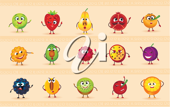 funny icons of fruits and berries