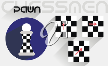 The moves of the chess pawn in the flat style