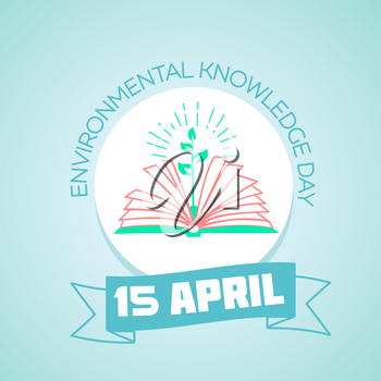 Calendar for each day on April 15. Holiday - Day of environmental knowledge.  education eco Icon in the linear style. Day of environmental knowledge
