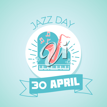 Calendar for each day on April 30. Greeting card. Holiday - Jazz Day. Icon in the linear style