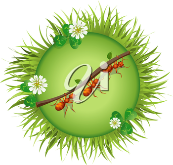 Insects and summer nature icon. Ants are pulling straws