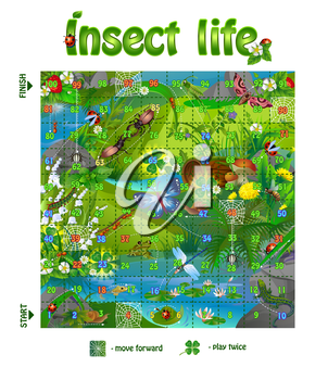 Vector illustration of board game for children. board game  insect life