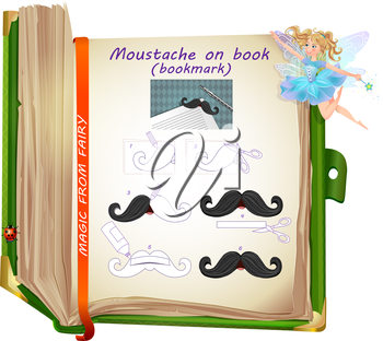 sample of creativity from the fairies. Template how to make a bookmark with your own hands. bookmark - moustache on book