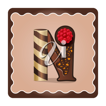 Cards for children for learning the alphabet. Letter n as chocolate, in the form of candies and cakes . Vector Illustration