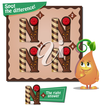 Visual Game for children. Task: Spot the difference letters n