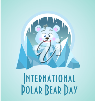Greeting card. Holiday - International Polar Bear Day.