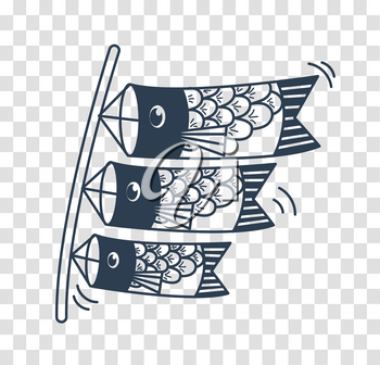 Icon of kites in the form of fish on the holiday - Childrens Day in Japan . silhouette icon in the linear style