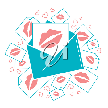 Concept of love in the form of an Messages in the form of kisses. Icon in the flat style