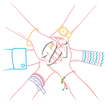 The concept of friendship and support in the form people making pile of hands. Icon in the linear style
