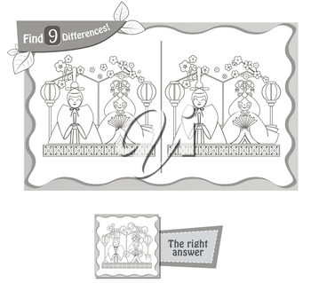 visual game for children, coloring book. Task to find 9 differences in the illustration on the school board. black and white vector illustration
