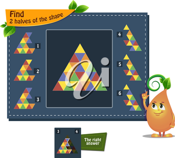 educational game iq for kids and adults development of logic, iq. Task find 2 halves of the shape