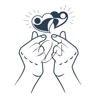 korean heart hand gesture symbol. Symbol of the heart and love. Korea finger heart. Icon in the linear style.
