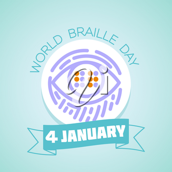 Calendar for each day on january 4. Greeting card. Holiday -  World Braille Day. Icon in the linear style