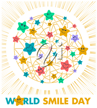 Greeting card. Holiday - World Smile Day on a white background. concept of charging the smile stars of the whole world