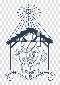 Bible scene black and white illustration the Nativity of jesus christ. Holy family. Merry christmas icon in linear style on an isolated background