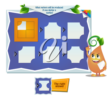 educational game for kids, puzzle. development of spatial thinking in children. Task game what pattern will be produced if you deploy a napkin?