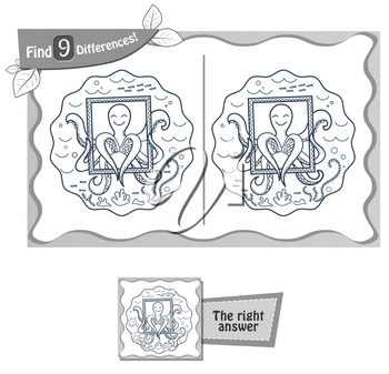 visual game for children and adults. Task to find 9 differences in the illustration   octopus. black and white vector illustration